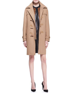 Ralph Lauren Black Label Garrett Camel Felt Toggle Coat, Fur Ellery Vest & Conroy Short-Sleeve Leather Dress