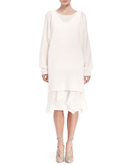 Chloe Seamless Long Knit Sweater, Loose Silk Crepe Tank & Georgette Tiered Ruffle Skirt