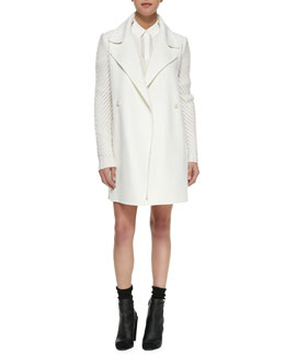 Vince Sweater-Sleeve Felt Coat, Drop-Sleeve Ribbed Knit Sweater & Straight Leather Miniskirt
