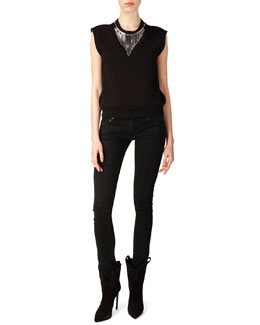 Saint Laurent Neck-Chain Sweatshirt Top and Skinny 5-Pocket Jeans