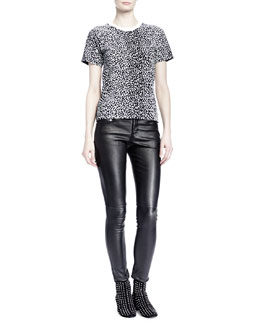 Saint Laurent Short-Sleeve Mini Leopard-Print Tee & Leather Skinny Pants
