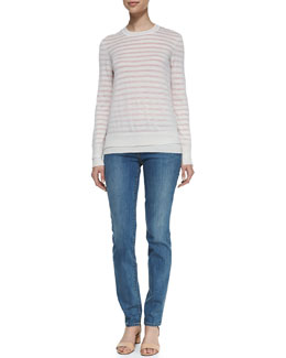 Tory Burch Naia Crewneck Wool Sweater & Super Skinny Denim Jeans