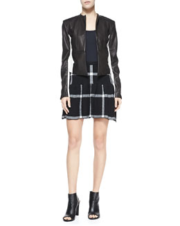 Alice + Olivia Leather-Detail 2-Tone Open-Front Jacket & Kimbra Checkered Dropped-Skirt