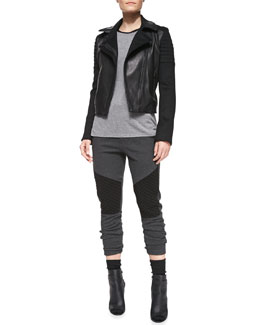 Vince Quilted Knit/Leather Moto Jacket, Contrast-Trim Slub Muscle Tee & Quilted-Detail Jersey Sweatpants