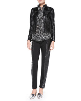 Tory Burch Fae Faux-Leather Jacket/Vest, Veta Ruffle-Front Printed Blouse & Mabley Ponte Faux-Leather Pants