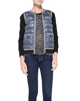 Tory Burch Macey Printed Knit-Trim Puffer Vest & Shia Solid-Sleeve Knit Sweater