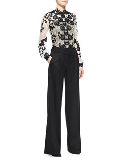 Oscar de la Renta Long-Sleeve Embellished Lace Blouse and High-Waist Trousers