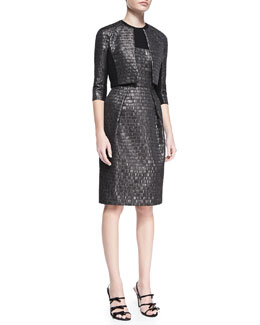 Carmen Marc Valvo 3/4-Sleeve Cropped Textured Jacket & Sleeveless Textured Cocktail Dress
