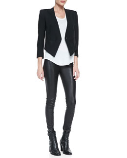 Helmut Lang Cropped Tuxedo Blazer, Kinetic Short-Sleeve Scoop-Neck Tee & Stretch-Leather Skinny Pants