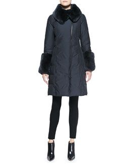 Armani Collezioni Rabbit Fur-Trim Long Puffer Coat & Button-Detail Long-Sleeve Top