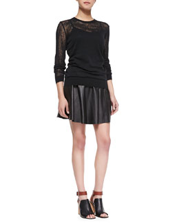 Theory Jaidyn P Knit-Trim Burnout Sweater & Merlock Pleated Leather Short Skirt