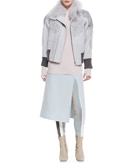 Marc Jacobs High Fur-Collar Bomber Jacket, Cashmere Crewneck Long-Sleeve Sweater, Knit Split-Front A-Line Skirt & Colorblock Suede-Inseam Leggings