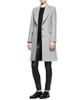 Proenza Schouler Two-Button A-Line Coat, Merino Crewneck Sweater & Stretch Leather Skinny Pants