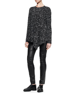 Proenza Schouler Asymmetric Long-Sleeve Printed Tee and Stretch Leather Skinny Pants