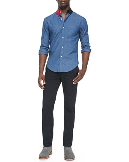Band of Outsiders Contrast-Collar Button-Down Shirt & Cotton Chino Pants