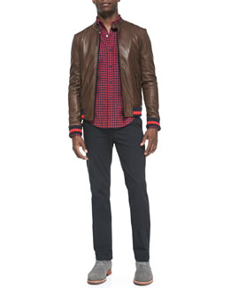 Band of Outsiders Leather Jacket with Striped Knit Trim, Check Button-Down Shirt & Cotton Chino Pants