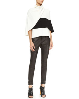 Derek Lam Sleeveless Wrap Top & Moto Leather Leggings