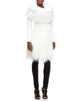 Donna Karan Long Belted Goat Fur Jacket, Goat Fur Collar & Structured Jersey Leggings