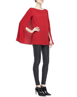 Ralph Lauren Black Label Noelle Long-Sleeve Cape Top and Abbey Stretch Leather Skinny Pants