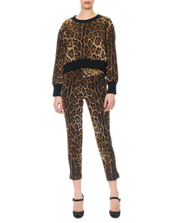 Dolce & Gabbana Leopard-Print Top with Knit Collar & Cuffs & Cropped Leopard-Print Brocade Pants