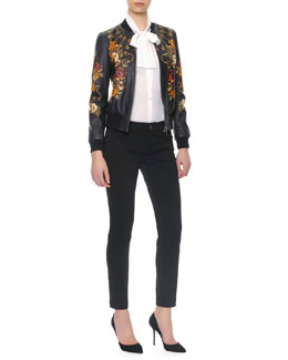 Dolce & Gabbana Floral/Key Print Baseball Leather Jacket/Long-Sleeve Silk Tie-Neck Blouse & Denim Jeans With Riveted Pockets