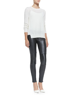 J Brand Ready to Wear Theodate Sheer Ribbed-Hem Sweater & Nicola Zipper-Cuff Leather Moto Pants