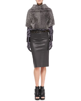 Brunello Cucinelli Marbled Shearling Fur Crop Jacket, Satin V-Neck Blouse, Leather Pencil Skirt, Crystal-Detail Leather Belt & Satin Evening Gloves