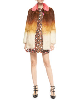 RED Valentino Ombre Fur Coat with Colorblock Collar & Sleeveless Pop Leopard-Print Dress