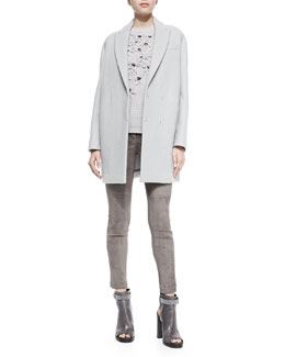 Brunello Cucinelli Felted Wool-Blend Car Coat, Cashmere Crystal Embroidered Sweater, Sleeveless Satin Back-Zip Top & Fitted Suede Pencil Leg Pants