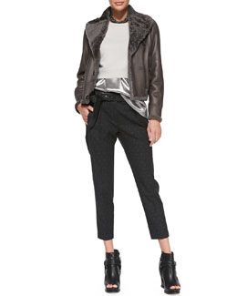 Brunello Cucinelli Reversible Leather/Fur Bomber Jacket, Cropped Cashmere Pullover, Sleeveless Lamé Top, Polka-Dot Pants, Leather Bow Belt & Hematite Choker Necklace