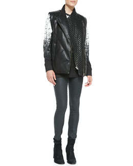 Helmut Lang Leather Front-Zip Puffer Vest, Printed Long-Sleeve Knit Top & Coated Stretch Legging Jeans