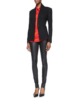 Helmut Lang Sonar-Knit Long-Sleeve Blazer, Draped Sleeveless Top & Stretch-Leather Skinny Pants