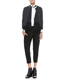 Brunello Cucinelli Flutter-Hem Combo Cardigan, Poplin Cylinder Blouse, Pleated Crepe Carrot Pants & Beaded Choker Necklace