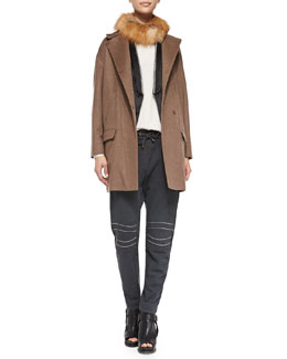Brunello Cucinelli Coat with Fox Fur Collar, Long-Sleeve Silk Top & Monili-Trim Vest