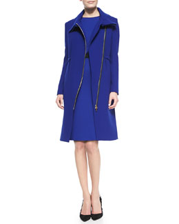 Roland Mouret Drymus Long Coat & Nepa Cap-Sleeve Asymmetric Draped Dress