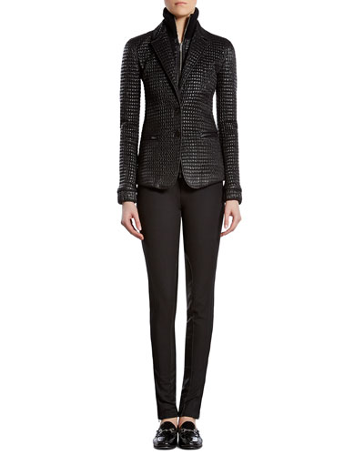 Shiny Zip-Front Jacket, Silk Satin Georgette V-Neck Top & Stretch Pants with Leather Detail