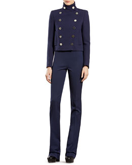 Gucci Wool Double-Breasted Jacket, Cashmere Ribbed Cashmere Turtleneck Sweater & Silk-Wool Flare Pants