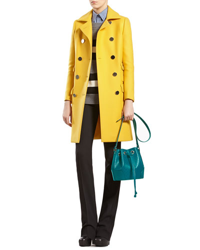 Wool Coat, Striped Angora-Blend Boat-neck Sweater, Leopard-Print Straight Shirt & Stretch Wool Flared Pants