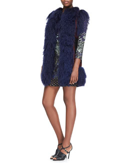 Etro Mongolian Lamb Fur and Passementerie Vest & Floral-Print Jersey Tunic Dress