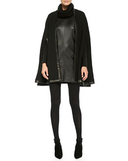 Ralph Lauren Black Label Garner Leather-Trim Cape and Long-Sleeve Leather-Front Dress