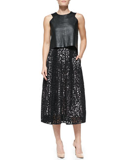 Milly Leather Angular Shell Top & Lace Tea-Length Skirt