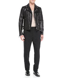 Burberry Prorsum Lambskin Leather Biker Jacket, Cotton-Jersey Mesh Tank Top & Wool/Cashmere Tweed Trousers