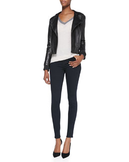 J Brand Ready to Wear Devon Knit-Trim Leather Jacket, Anett Contrast-Neck Knit Sweater & Maria High-Rise Skinny Jeans