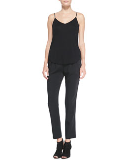 J Brand Ready to Wear Nadja V-Neck Shirttail Cami Tank & Irene Relaxed Satin Pants
