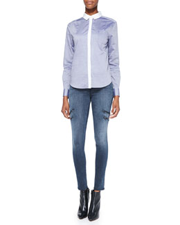 J Brand Ready to Wear Piper Contrast-Trim Cotton Blouse & Dee Zipper-Leg Skinny Jeans