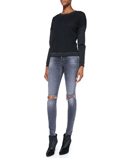 J Brand Ready to Wear Montana Raw-Edge Contrast Top & Mid-Rise Distressed Skinny Jeans