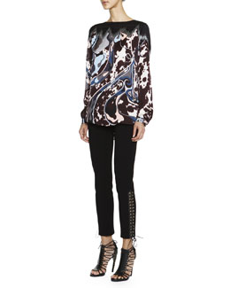 Emilio Pucci Mixed-Print Silk Charmeuse Top & Lace-Up-Cuff Milano Pants