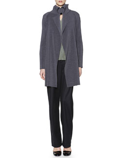 Giorgio Armani Fold-Collar Long Plisse Jacket, Jacquard Seamed-Back Vest & Soft Inverted-Pleat Flannel Pants
