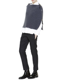 Full-Side-Zip Knit Poncho, Asymmetric Ruffle-Hem Poplin Blouse & Cropped Flat-Front Yoke Pants