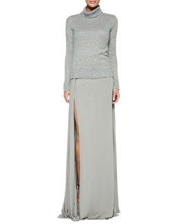 Ralph Lauren Collection Cashmere/Silk Turtleneck Sweater and Jacinda Draped Long Skirt